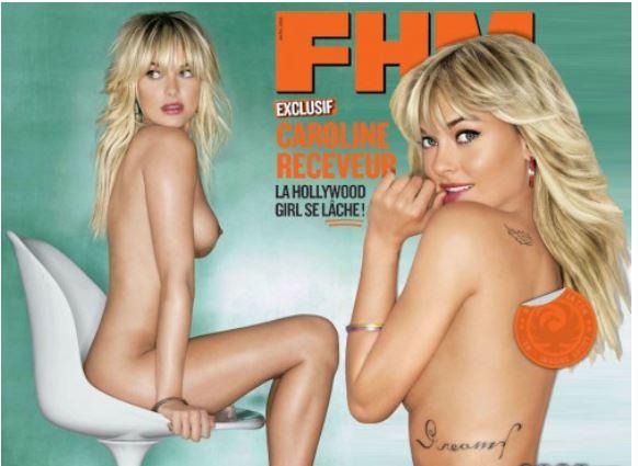 Caroline Receveur nue et seins nus dans un magazine