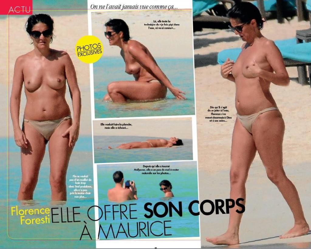 Des photos de Florence Foresti seins nus sur la plage